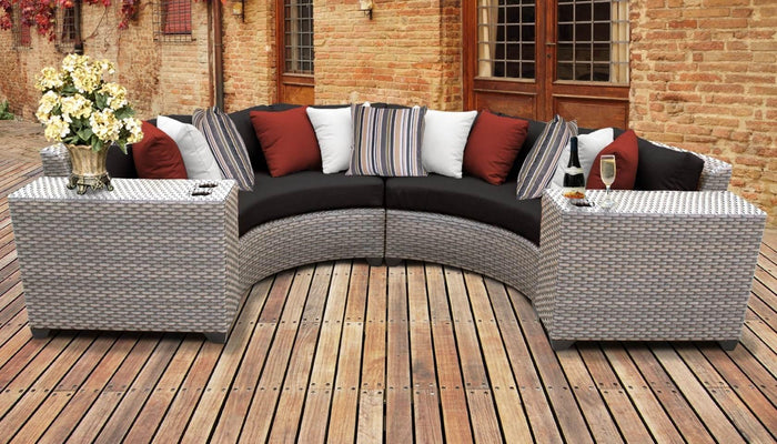 TKC Outdoor Wicker Patio Furniture – 4 Piece Curved Sofa, Side Tables, Clips – Florence