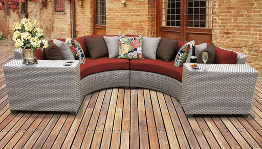 Patio Furniture - TKC Outdoor Wicker Patio Furniture – 4 Piece Curved Sofa, Side Tables, Clips – Florence