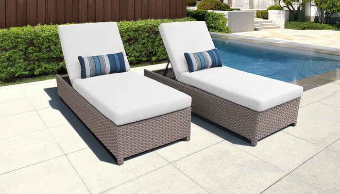 TKC Outdoor Wicker Patio Furniture – 2 Wheeled Chaise Lounge Chairs – Florence