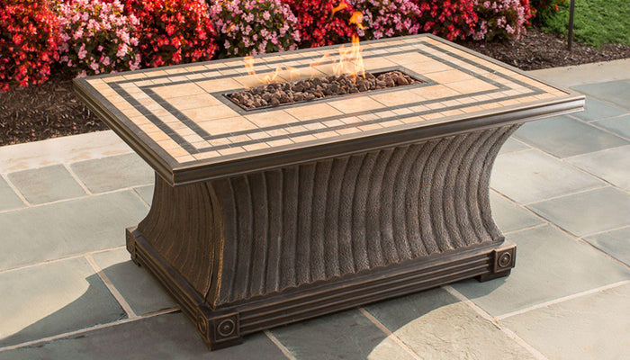 Fire Pit Table - TKC Rectangular Fire Pit Table - Tuscan - 32x52 - Includes Fire Glass