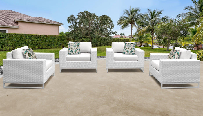 TKC Outdoor Wicker Patio Furniture – Set of 4 Club Chairs – Miami