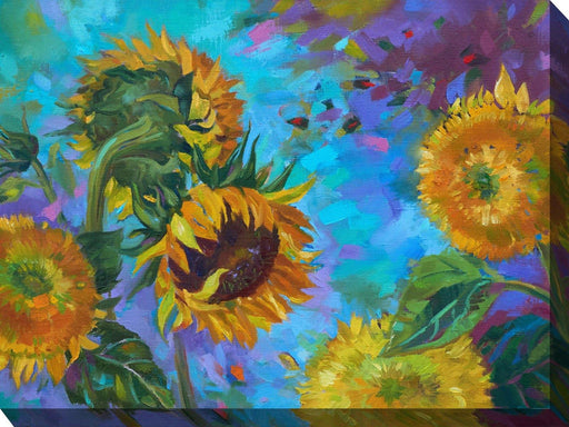 Outdoor Canvas Art 40x30 Sunflower on Blue - My Backyard Decor