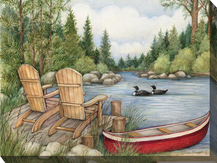 Outdoor Canvas Art 40x30 Red Canoe