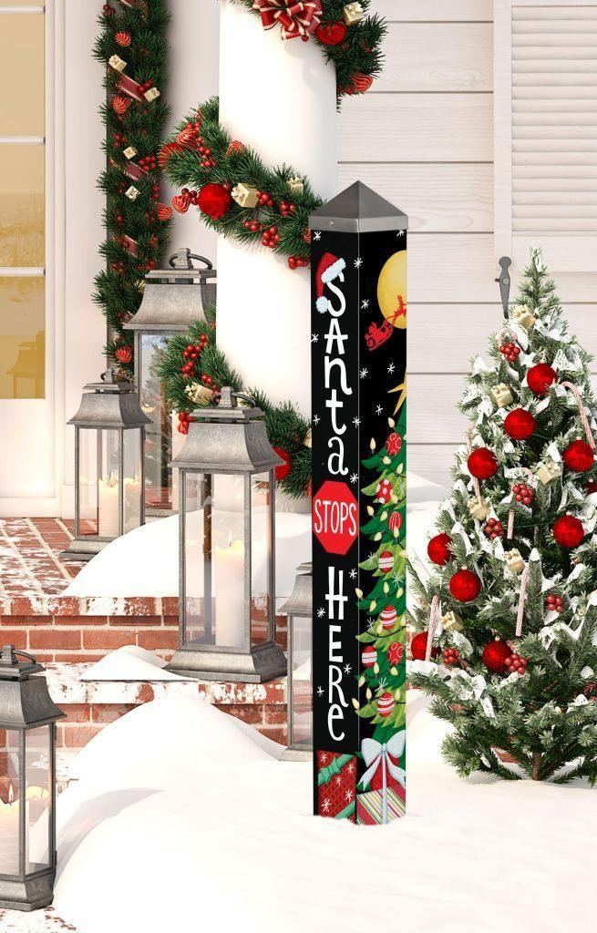 Art Pole - Santa Stops Here - 3 Feet