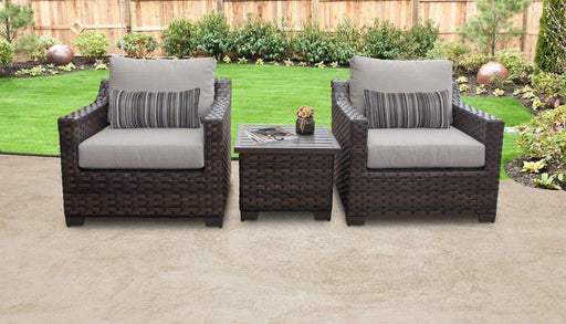 Patio Furniture - Wicker Patio Furniture – 3pc Set – Club Chairs & Table – Kathy Ireland