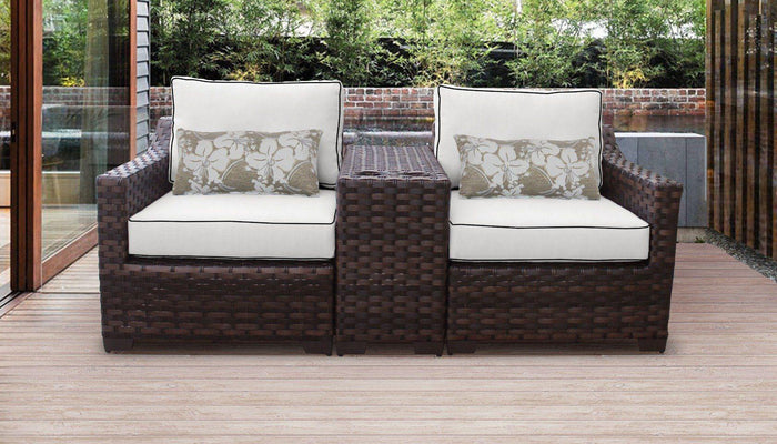 Patio Furniture - Wicker Patio Furniture – 3pc Set – Chairs & Cup Table – Kathy Ireland
