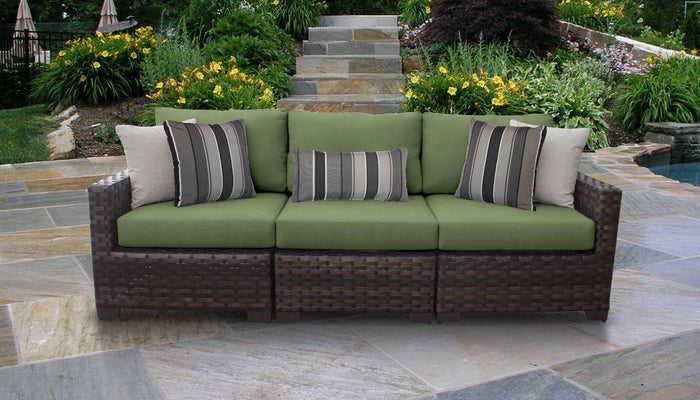 Wicker Patio Furniture – 3pc Sofa with Clips – Kathy Ireland