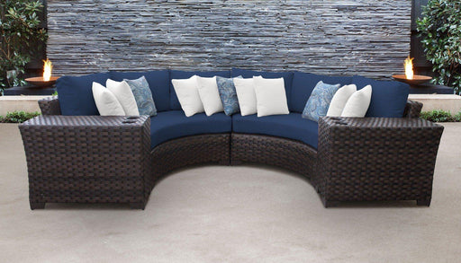 Patio Furniture - Wicker Patio Furniture – 4pc Sectional & Side Tables – Kathy Ireland