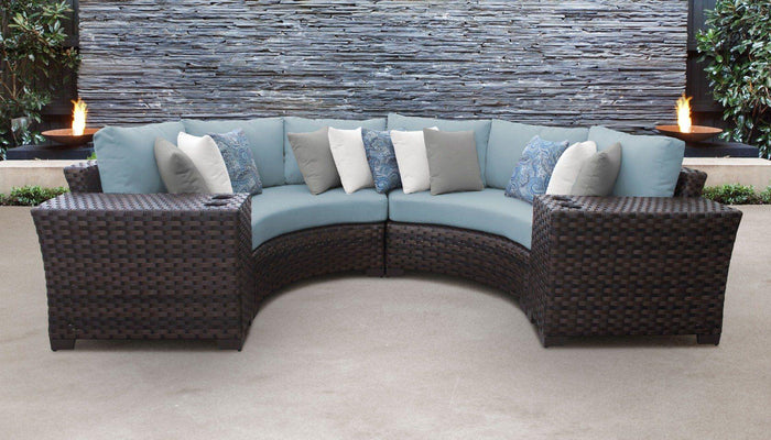 Wicker Patio Furniture – 4pc Sectional & Side Tables – Kathy Ireland