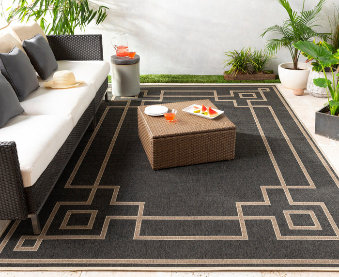 Outdoor Rugs Alfresco - Black, Camel & Cream