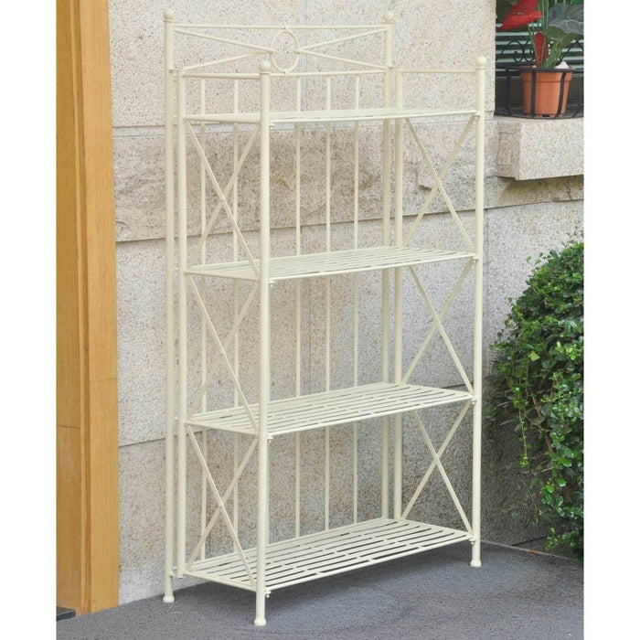 Bakers Rack - Bakers Rack - 4-Tier - Folding - Antique White - Iron