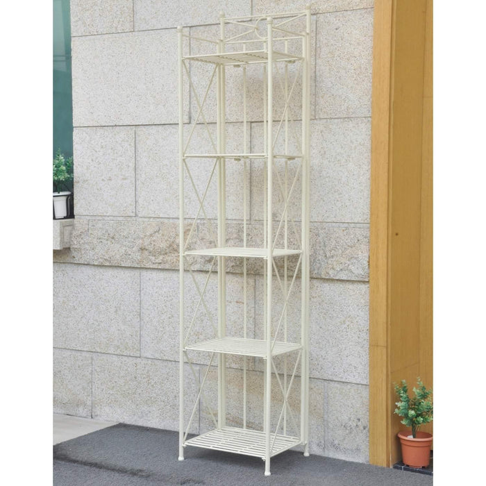Bakers Rack - Bakers Rack - 5-Tier - Folding - Antique White - Iron