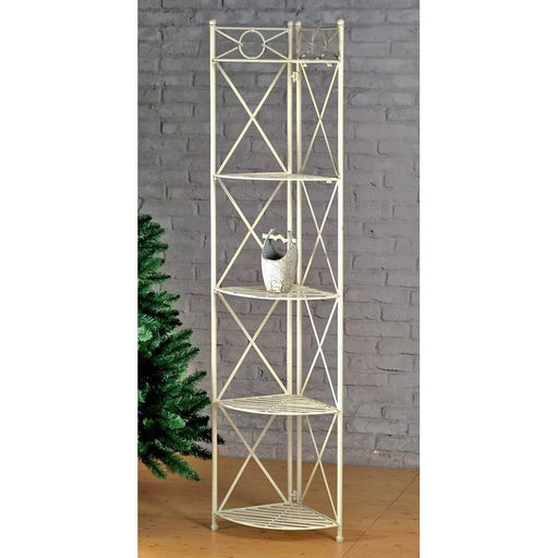 Bakers Rack   Bakers Rack Corner Shelf   5 Tier   Antique White   Iron