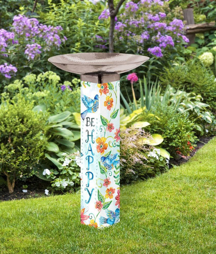 Art Bird Bath - Be Happy Bluebirds