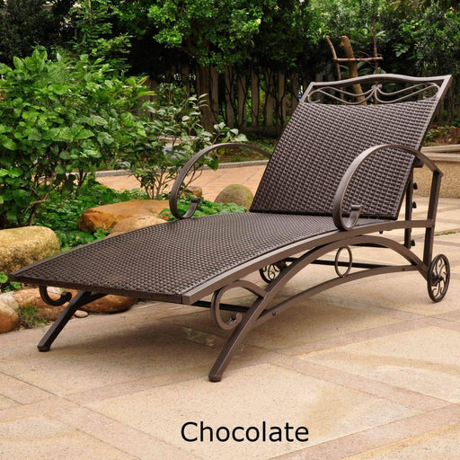 Chaise Lounge - Chaise Lounge – Resin Wicker & Steel – Valencia Chocolate