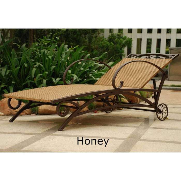 Chaise Lounge - Chaise Lounge – Resin Wicker & Steel – Valencia Honey
