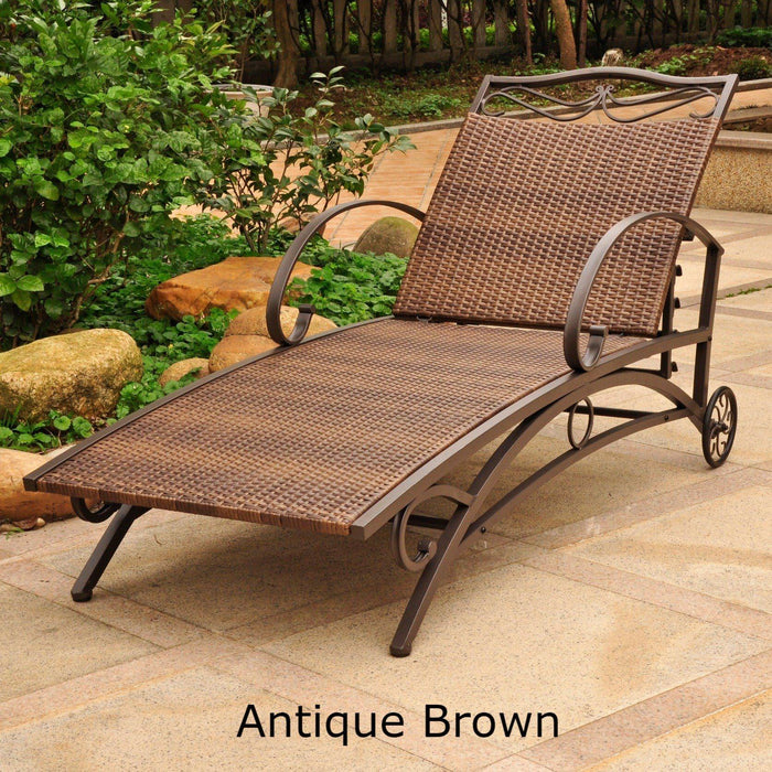 Chaise Lounge - Chaise Lounge – Resin Wicker & Steel – Valencia Antique Brown