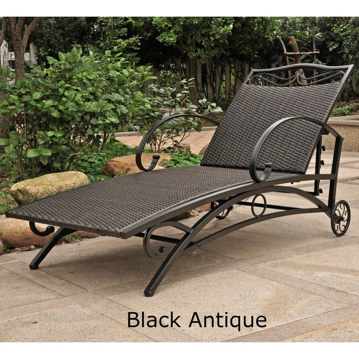 Chaise Lounge - Chaise Lounge – Resin Wicker & Steel – Valencia Black Antique