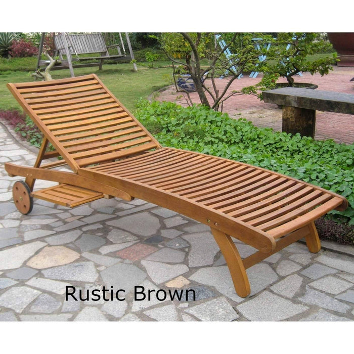 Chaise Lounge - Chaise Lounge With Pull Out Tray - Acacia Wood - Royal Fiji Rustic Brown
