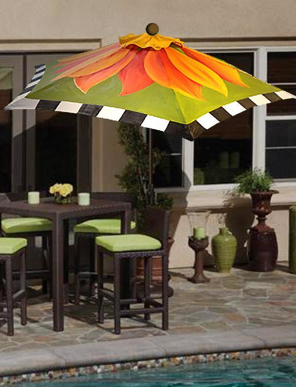 Hand Painted Custom Garden Art Umbrella - Fire Poppy