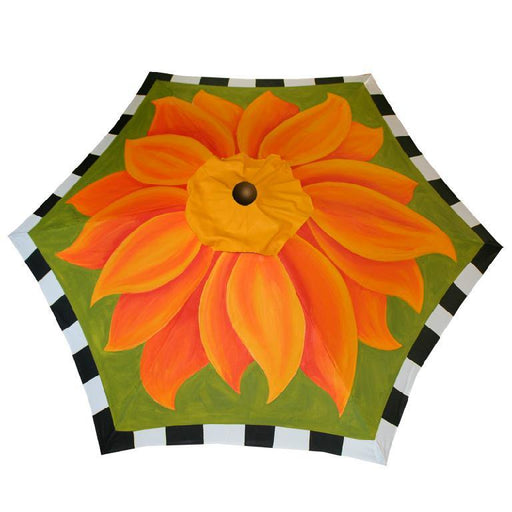 Garden Art - Hand Painted Custom Garden Art Umbrella - Fire Poppy