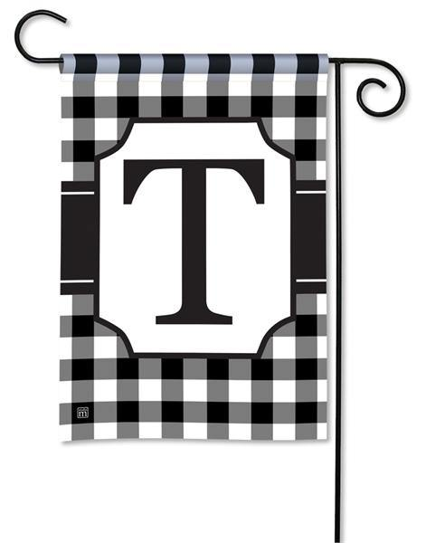 Garden Flags - Monogram Black & White Check Garden Flag