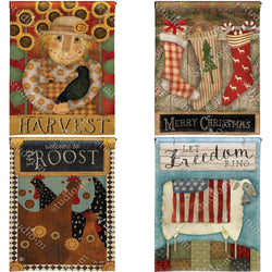 Garden Flags - Primitive Garden Flags Set Of 4 Seasonal