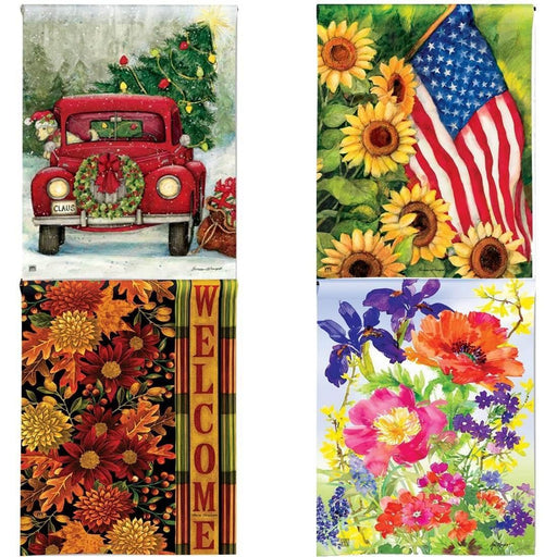 Garden Flags - Traditional Garden Flags Set Of 4 Seasonal