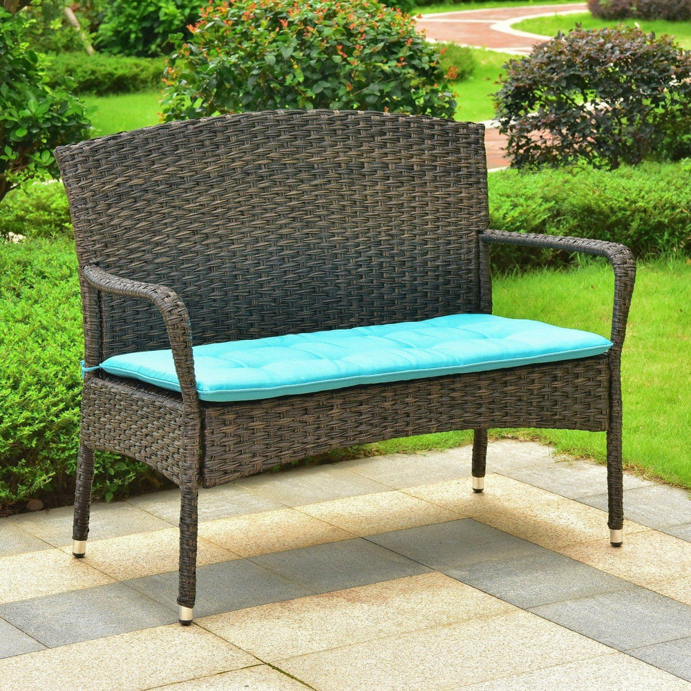 Loveseat Bench - Outdoor Loveseat With Cushion – Resin Wicker & Steel – Majorca