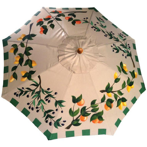 Garden Art - Hand Painted Custom Garden Art Umbrella - Olives & Citrus