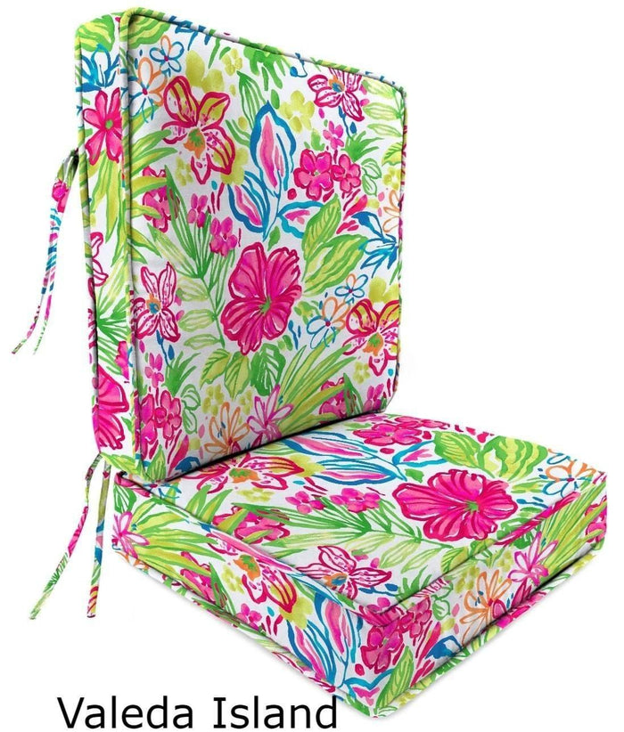 Outdoor Cushions - Outdoor Chair Cushions – 2-Piece - Spun Polyester, Box Edge