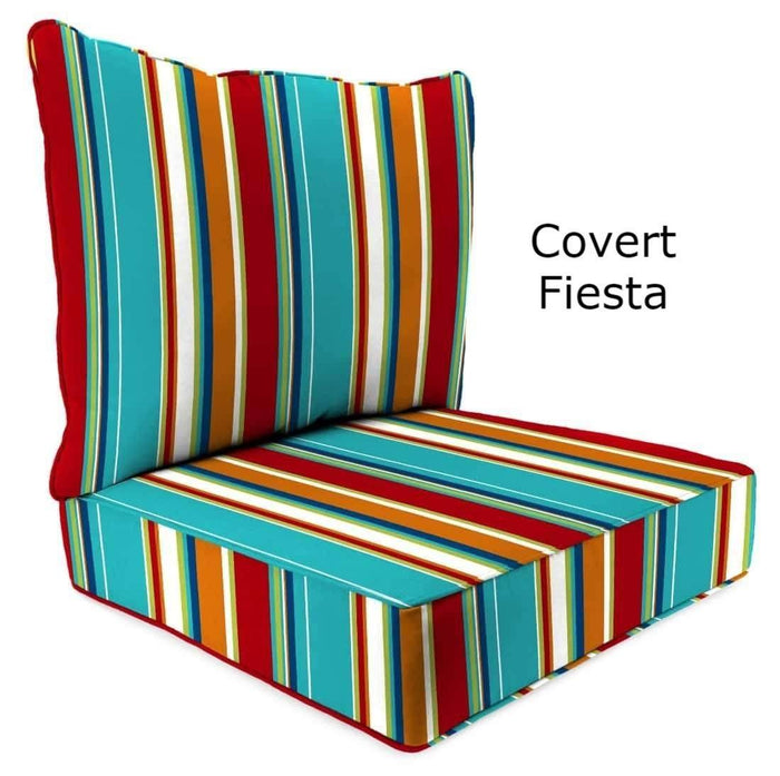 Outdoor Cushions - Outdoor Chair Cushions – 2-Piece – Spun Polyester, Knife/Box Edge