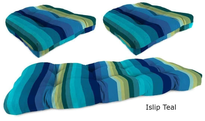 Outdoor Cushions - Outdoor Wicker Cushions – 3-Piece – Spun Polyester, Knife Edge