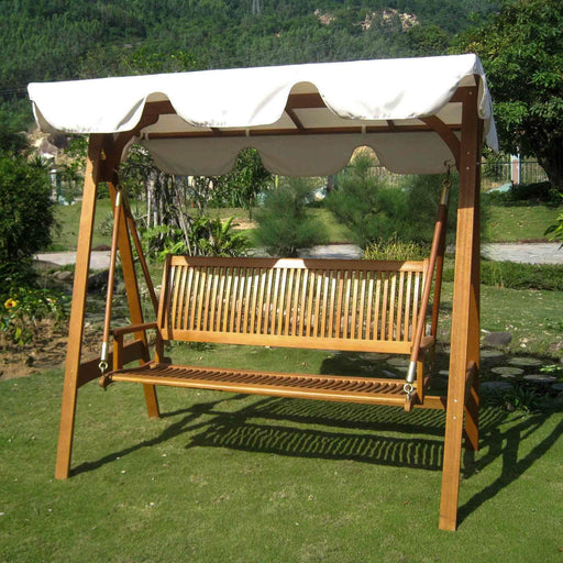 Outdoor Furniture - 3-Person Outdoor Swing With Frame And Canopy - Balau Hardwood - Royal Tahiti