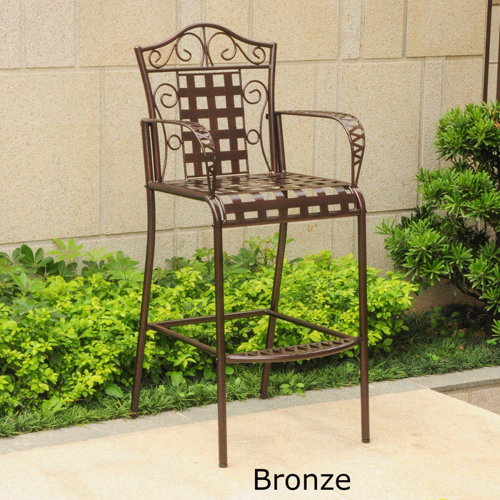 Outdoor Furniture - Bistro Bar Height Chairs Set Of 2 – Powder Coated Iron - Mandalay