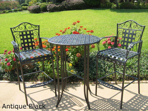 Outdoor Furniture - Bistro Set – 3 Piece – Powder Coated Iron - Mandalay