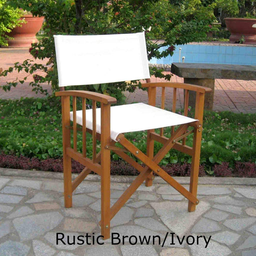 Outdoor Furniture - Directors Chairs With Mission Style Arms- Set Of 2 - Acacia Wood - Royal Fiji Rustic Brown