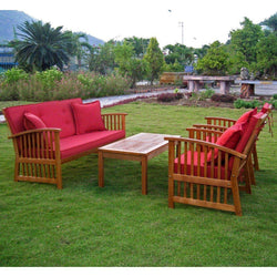 Outdoor Furniture - Outdoor Balau Hardwood Seating Group With Cushions – 4 Pieces – Royal Tahiti