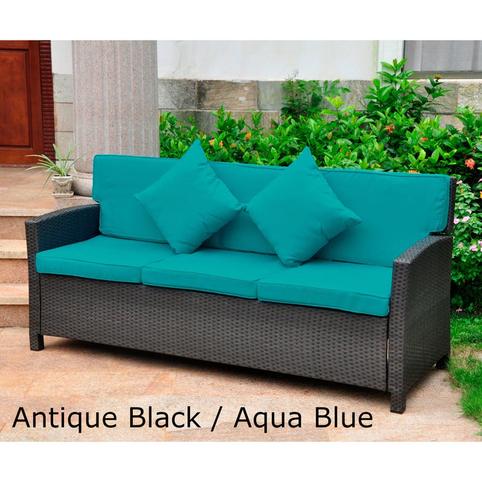 Outdoor Furniture - Outdoor Deep Seating Sofa – Resin Wicker & Steel – With Cushions & Pillows – Valencia