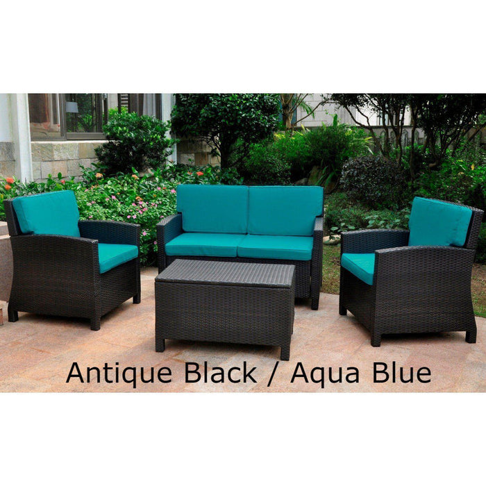 Outdoor Furniture - Outdoor Settee Seating Group – 4 Pieces – Resin Wicker & Steel – With Cushions – Valencia