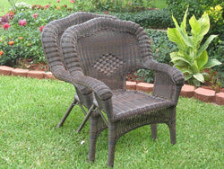 Outdoor Furniture - Patio Chairs – Set Of 2 – Resin Wicker & Steel – Maui