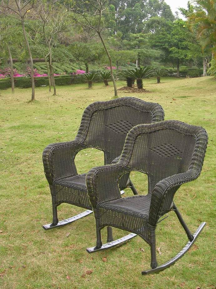 Patio Rockers Set Of 2 Resin Wicker Steel Maui