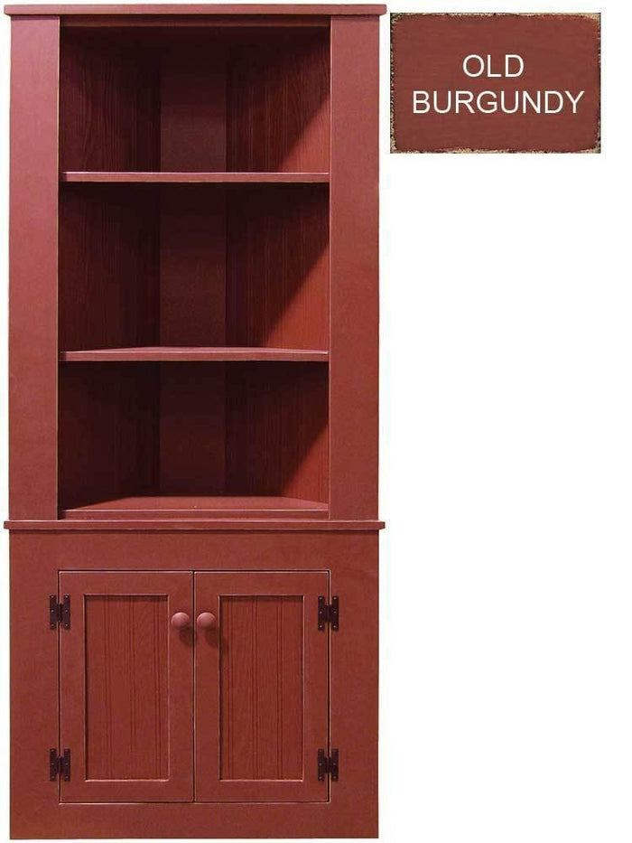 Patio Furniture - Corner Hutch Cabinet - Solid Pine Old Burgundy