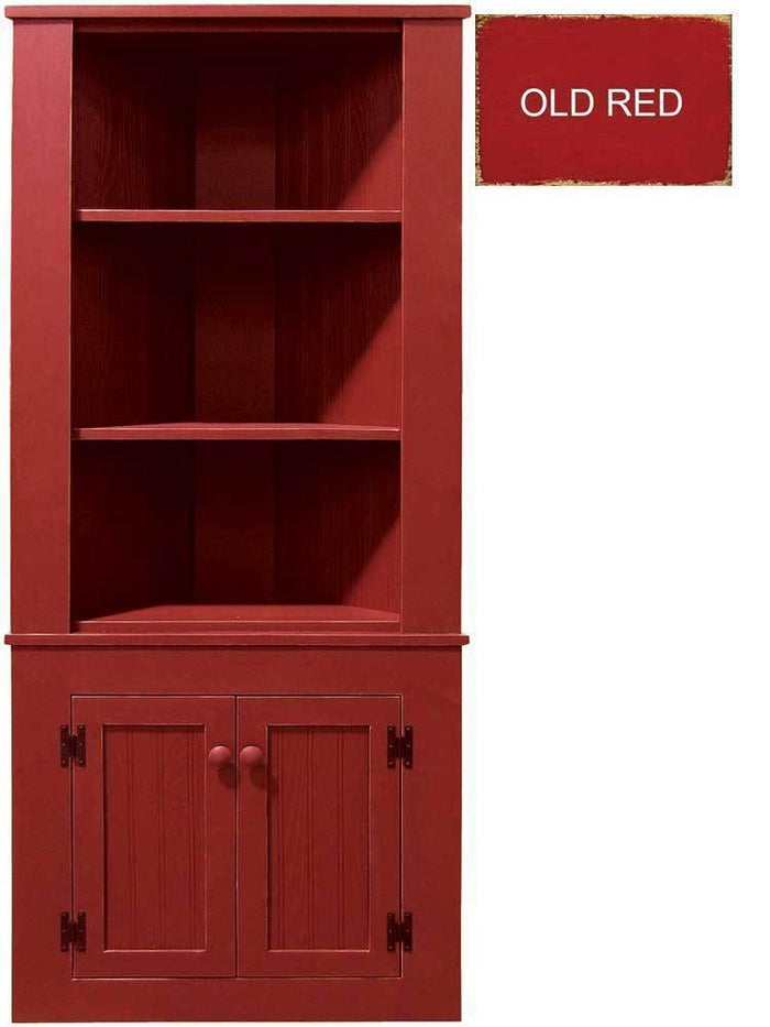 Patio Furniture - Corner Hutch Cabinet - Solid Pine Old Red