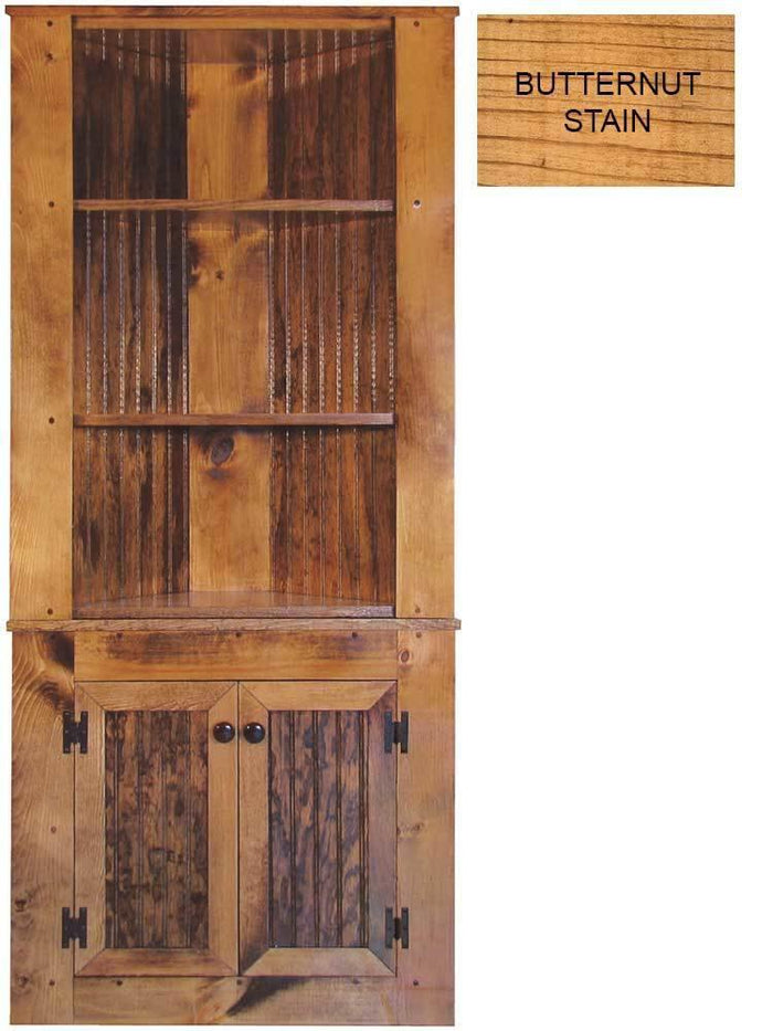 Patio Furniture - Corner Hutch Cabinet - Solid Pine Butternut Stain