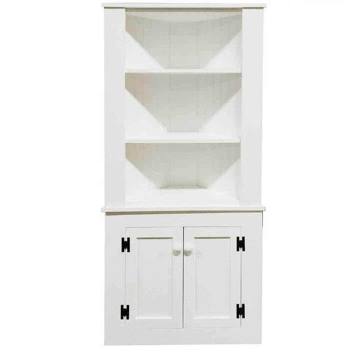 Patio Furniture - Corner Hutch Cabinet - Solid Pine Solid Cottage White