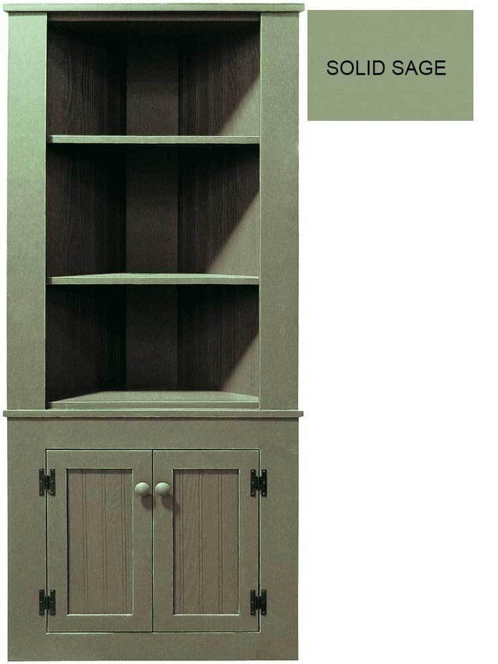 Patio Furniture - Corner Hutch Cabinet - Solid Pine Solid Sage