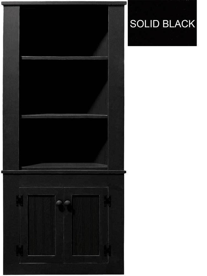 Patio Furniture - Corner Hutch Cabinet - Solid Pine Solid Black