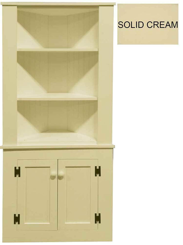 Patio Furniture - Corner Hutch Cabinet - Solid Pine Solid Cream
