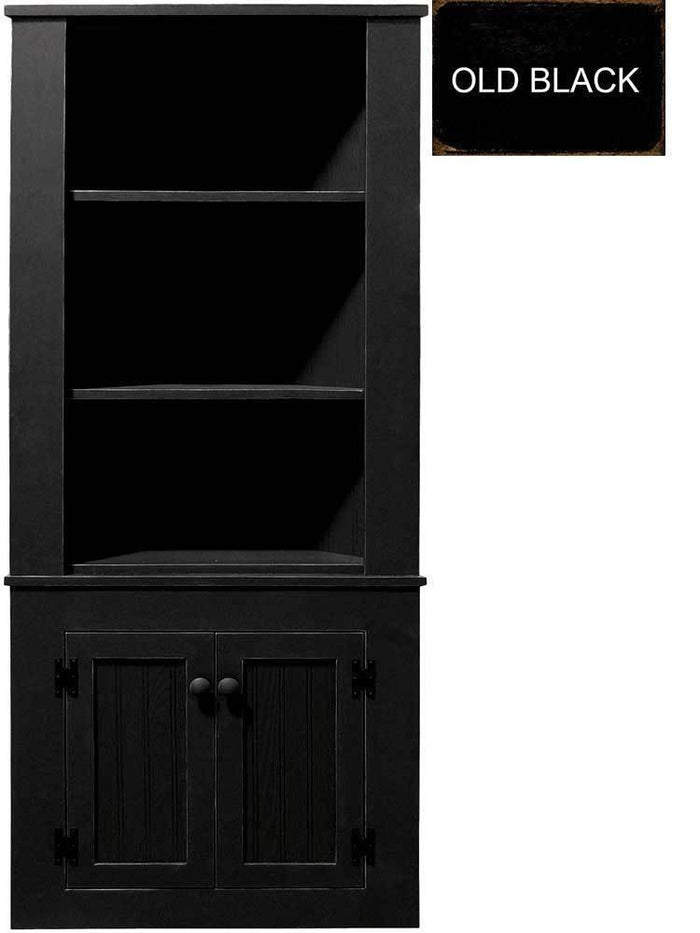 Patio Furniture - Corner Hutch Cabinet - Solid Pine Old Black